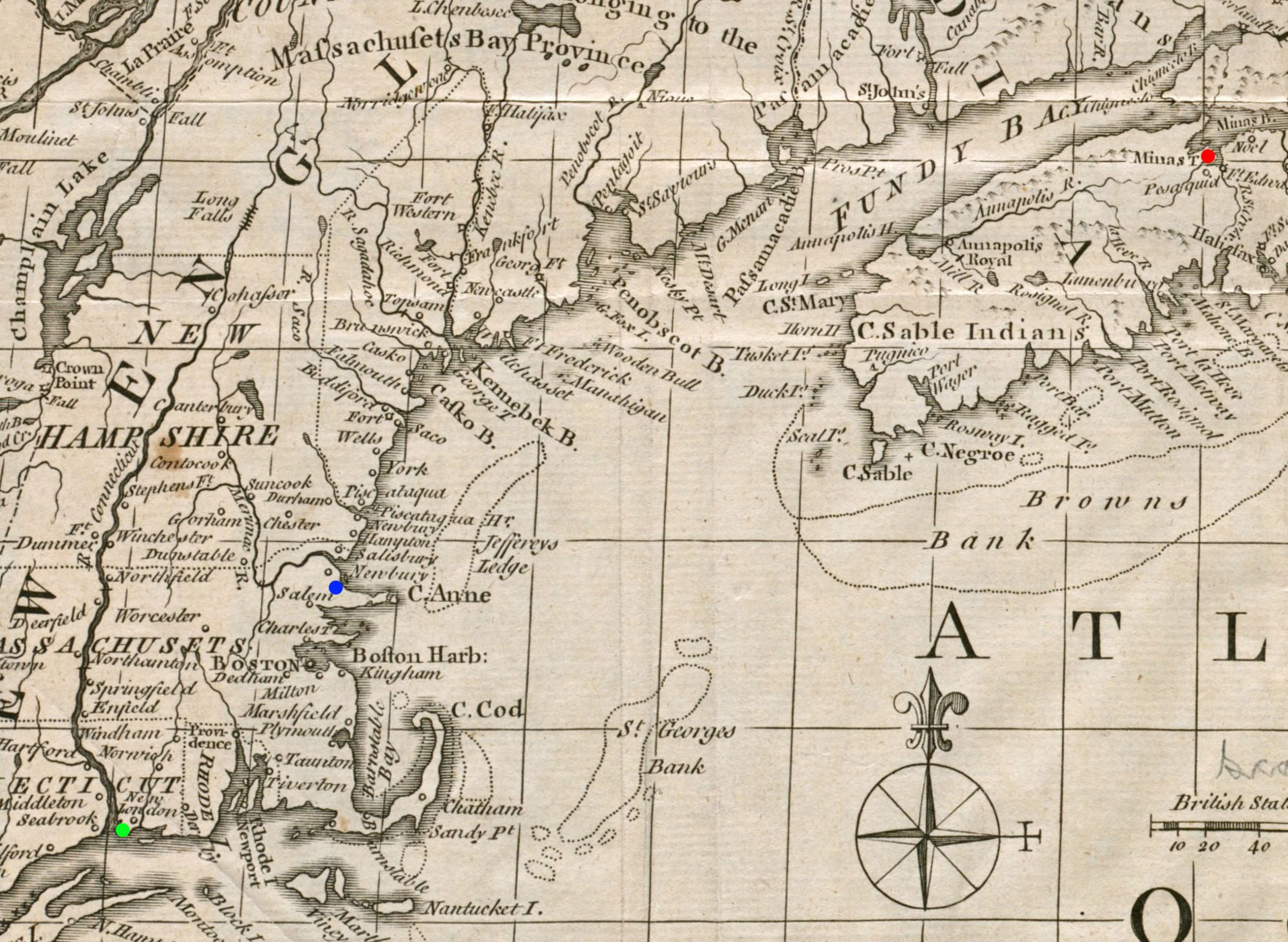 A Map of New England & Nova Scotia by Kitchin, 1758