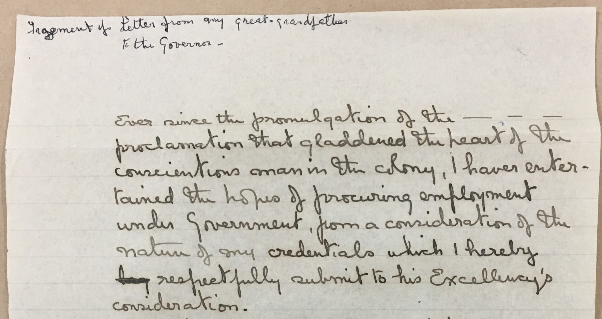 Fragment of Letter from Cyrus Francis Perkins