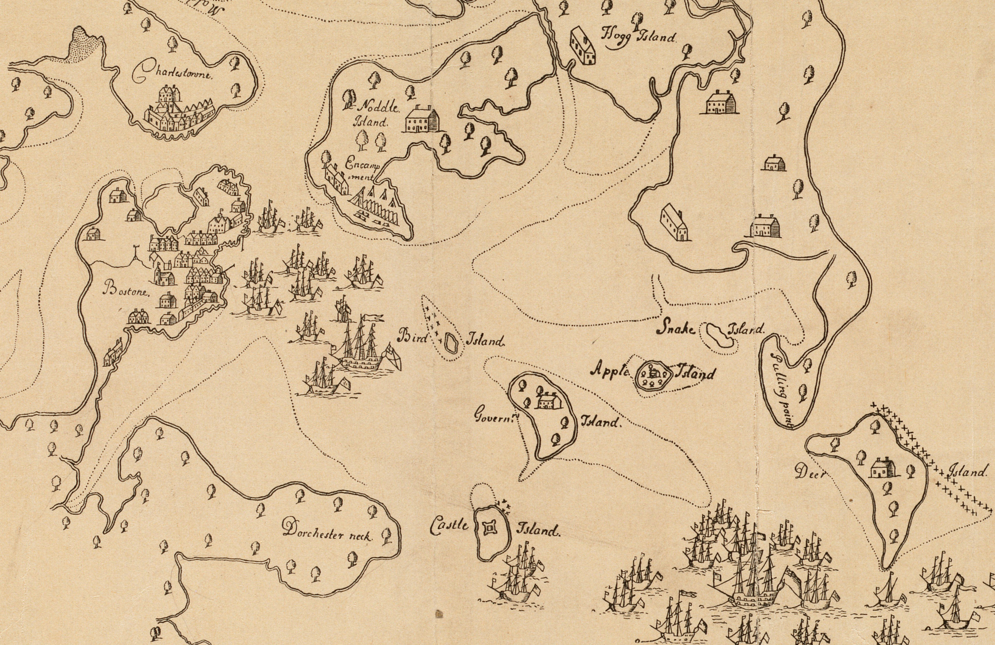"""An Exact Draught of Bostone Harbor"" drawn in 1711"