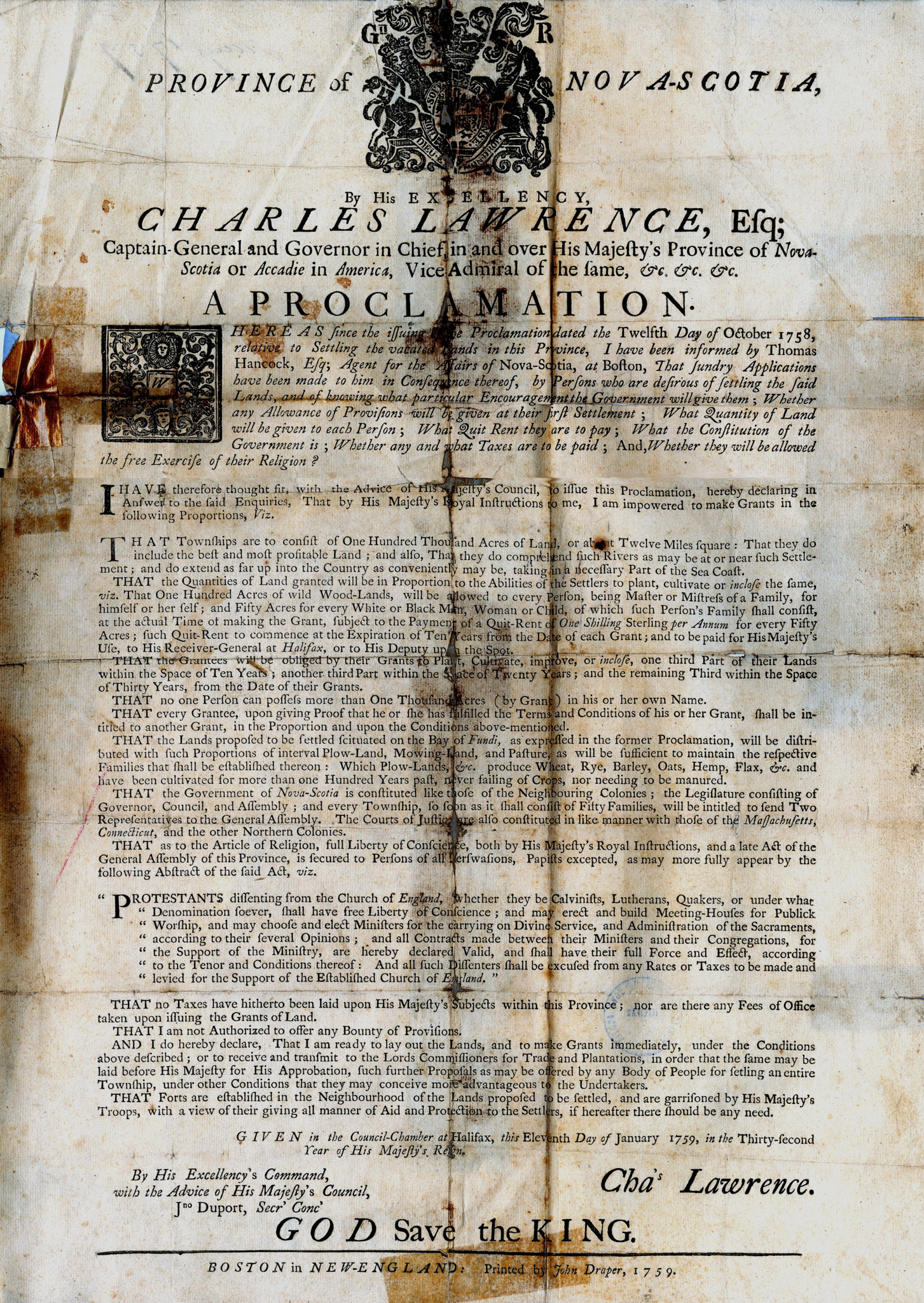 1759 Proclamation by Charles Lawrence
