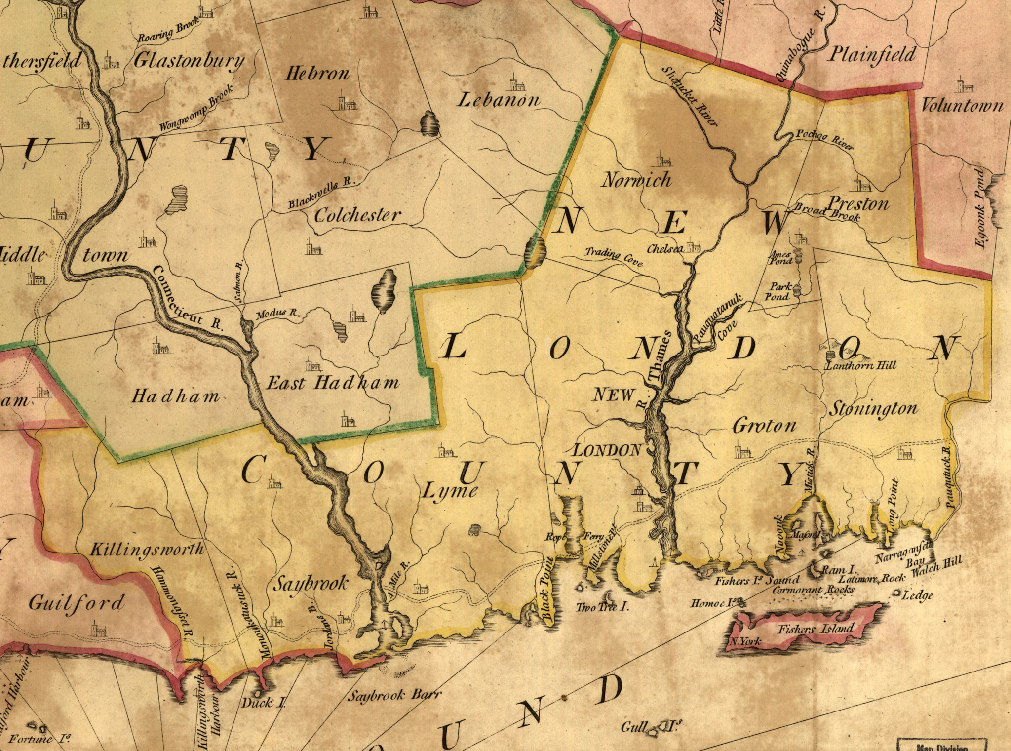 New London County in 1766 Connecticut Map