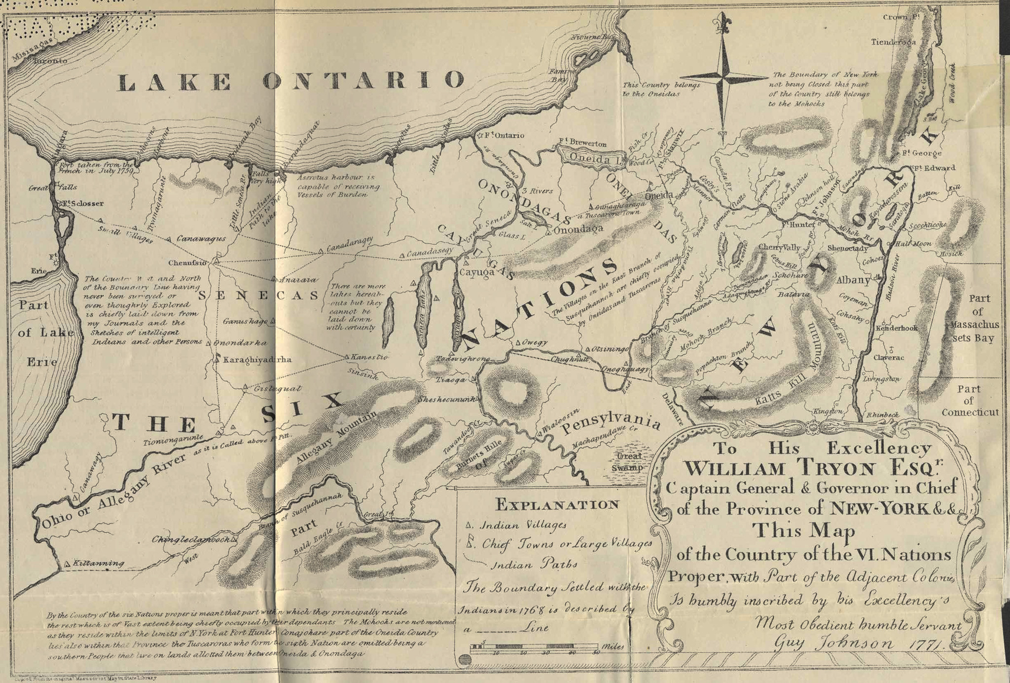 1771 Map of New York by Guy Johnson
