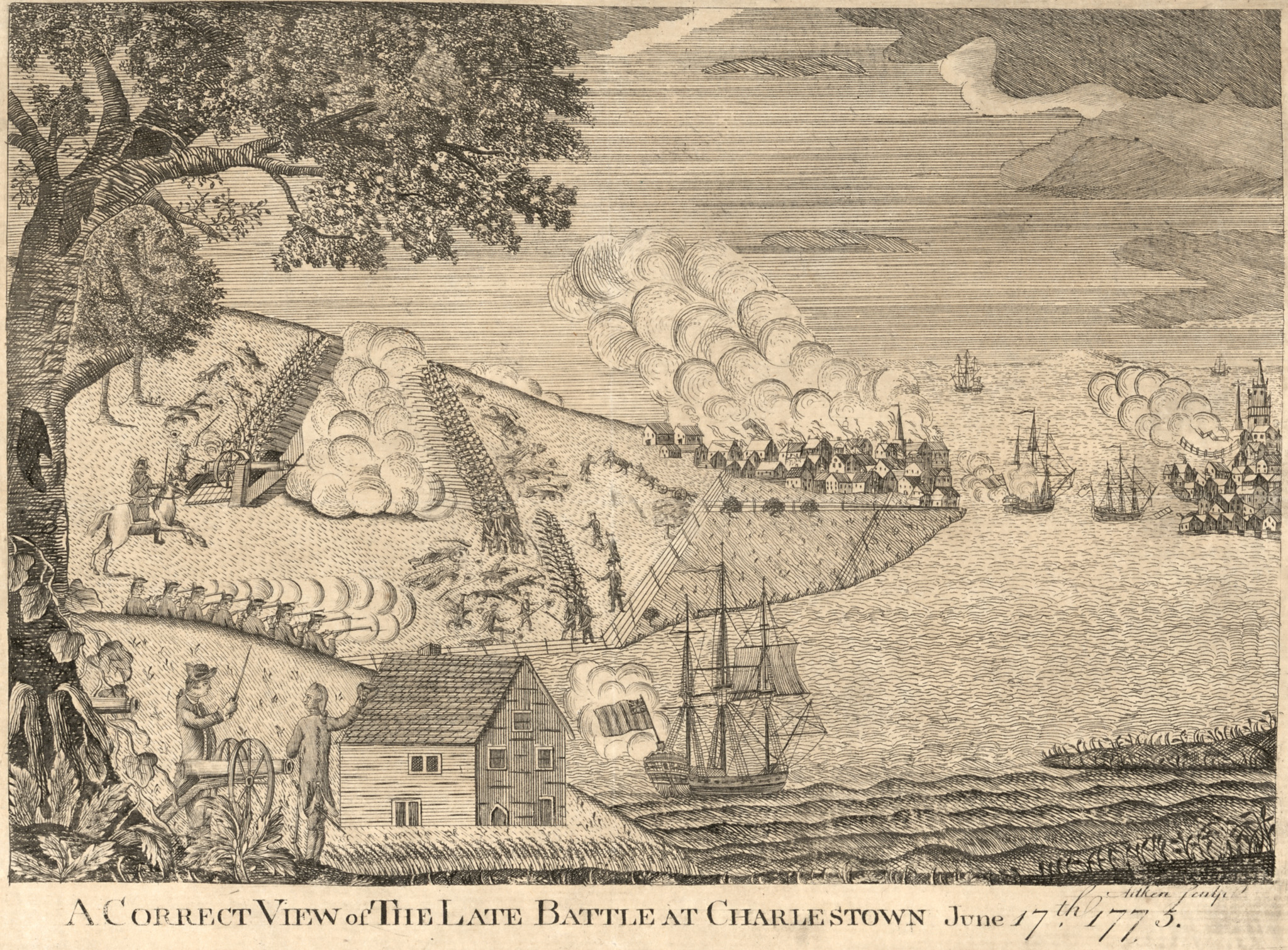 A correct view of the late battle at Charlestown by Aitken, 1775