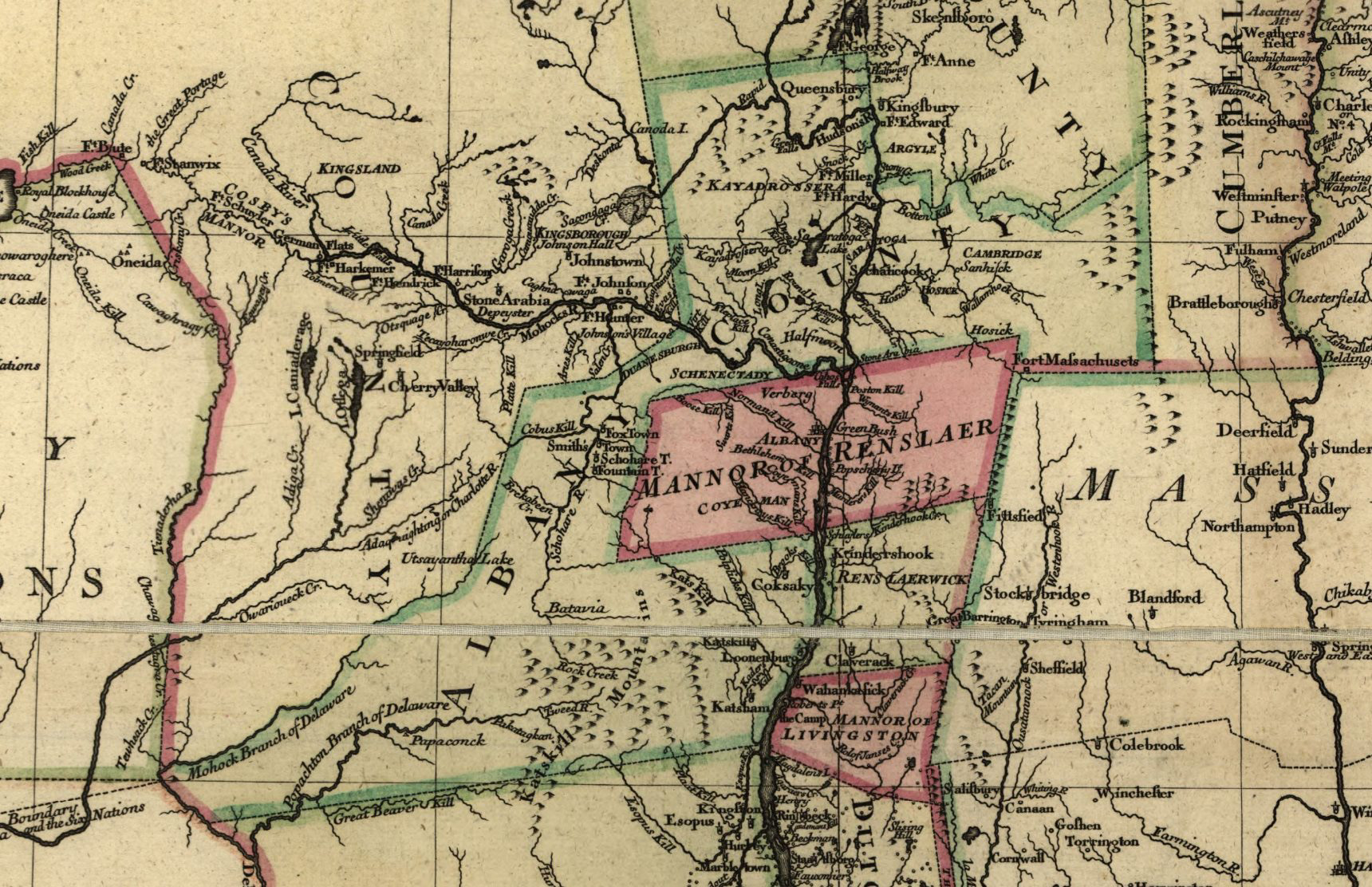 Albany County detail of 1776 Map by C Sauthier