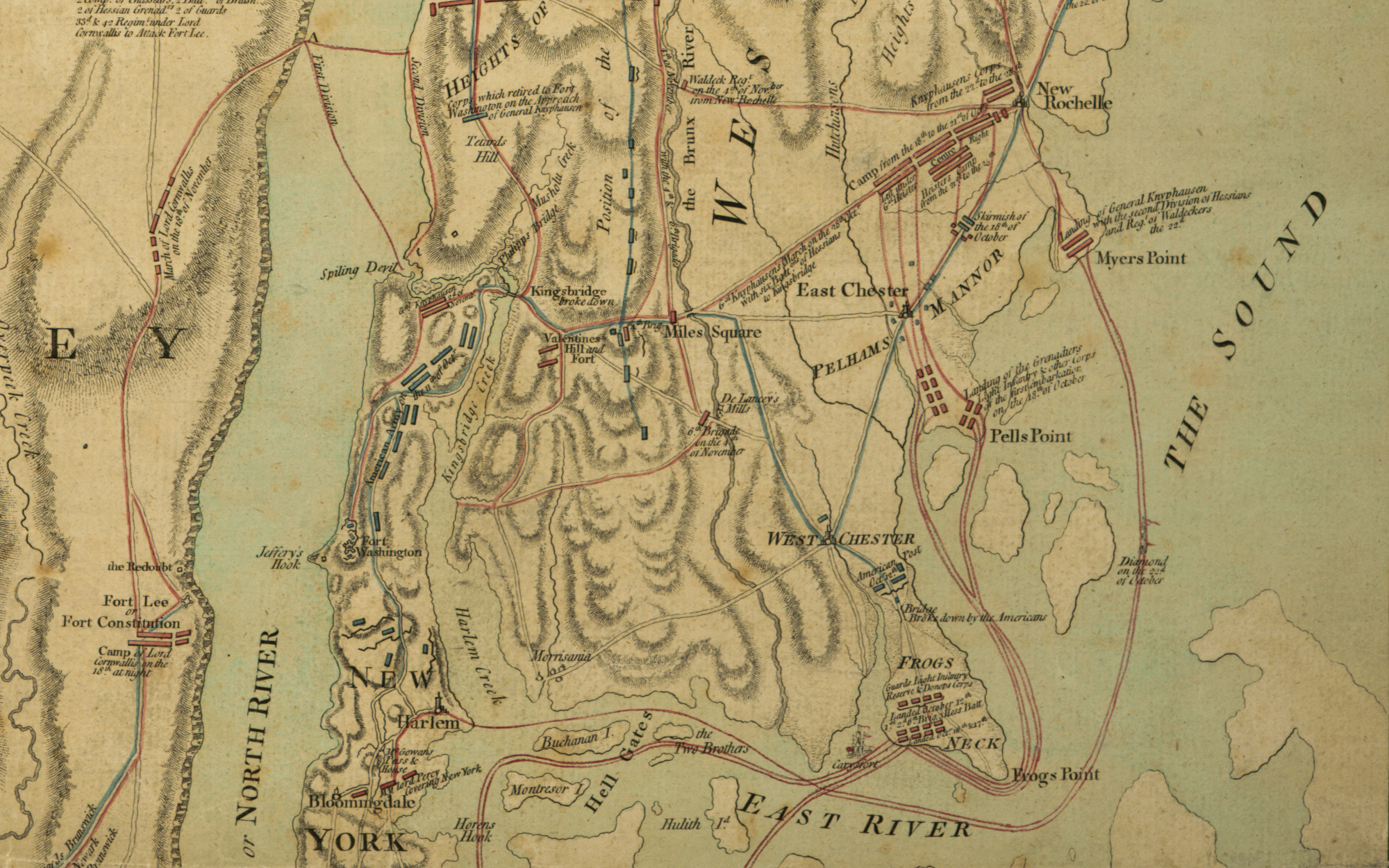 Closeup of Frogs Point on White Plans map by William Faden in 17