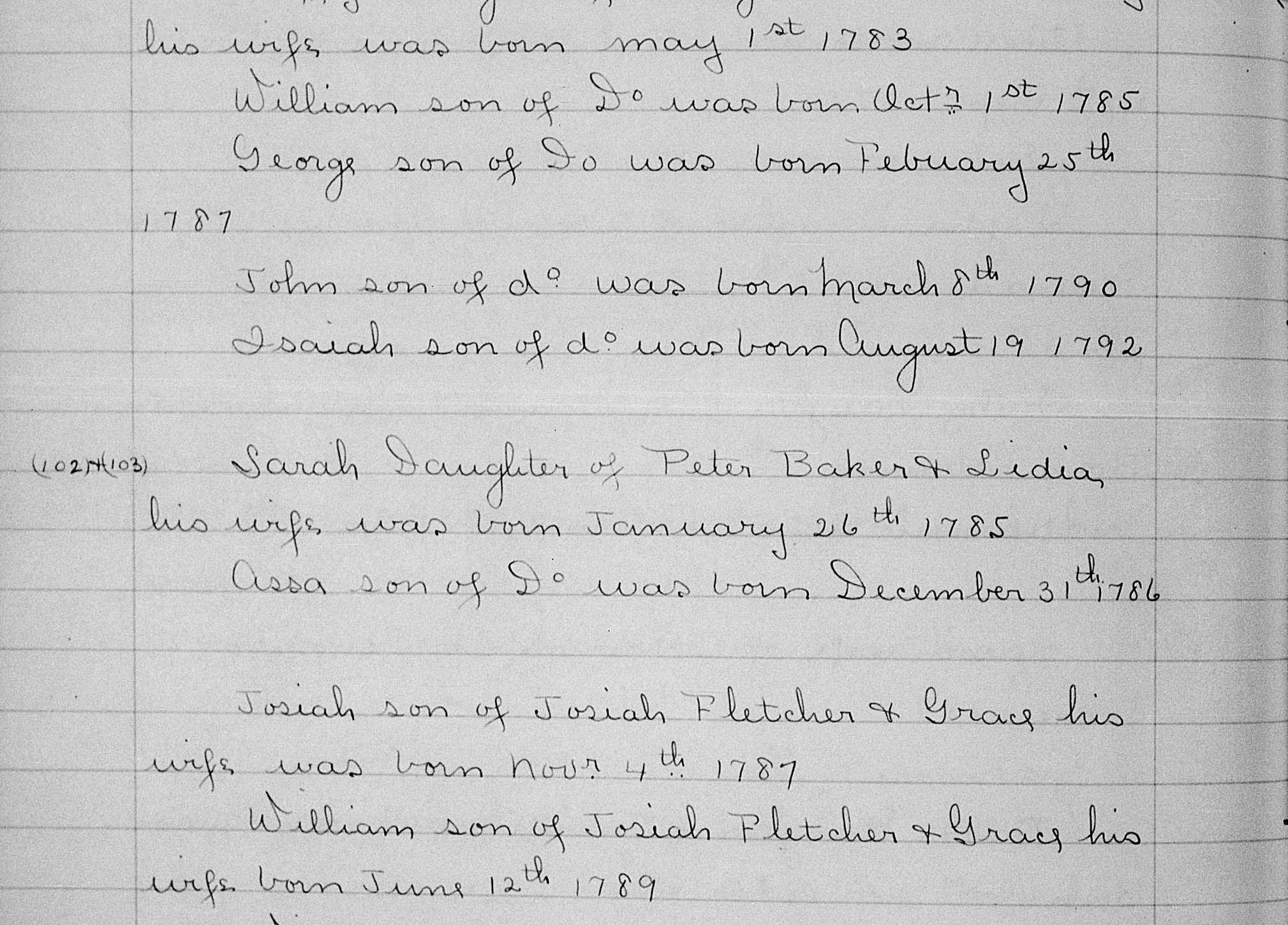 Birth Records of Sarah & Asa Baker