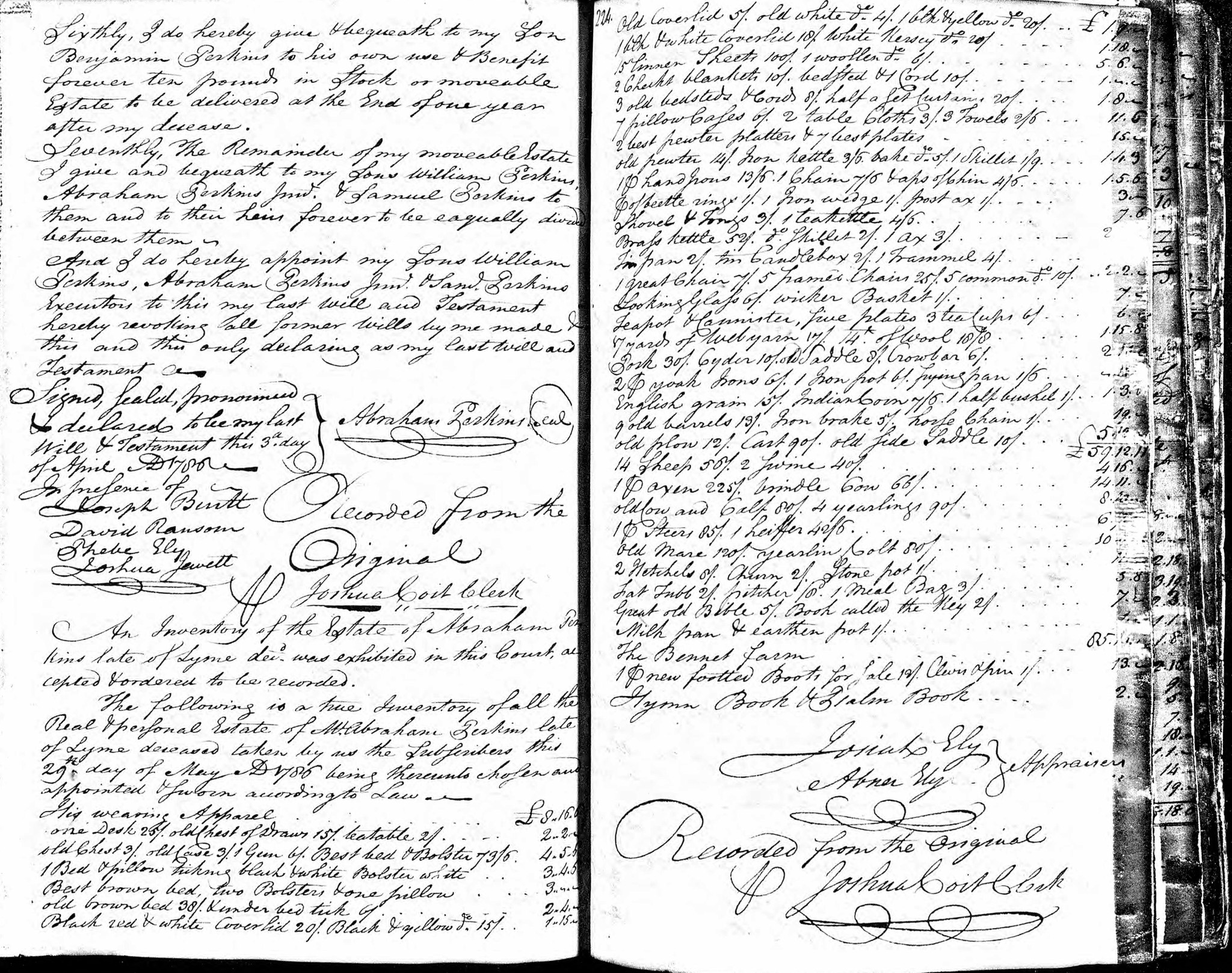1786 Will of Abraham Perkins (cont)