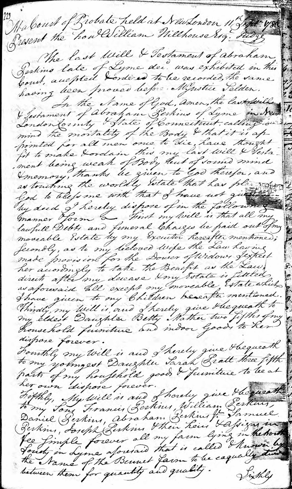 1786 Will of Abraham Perkins
