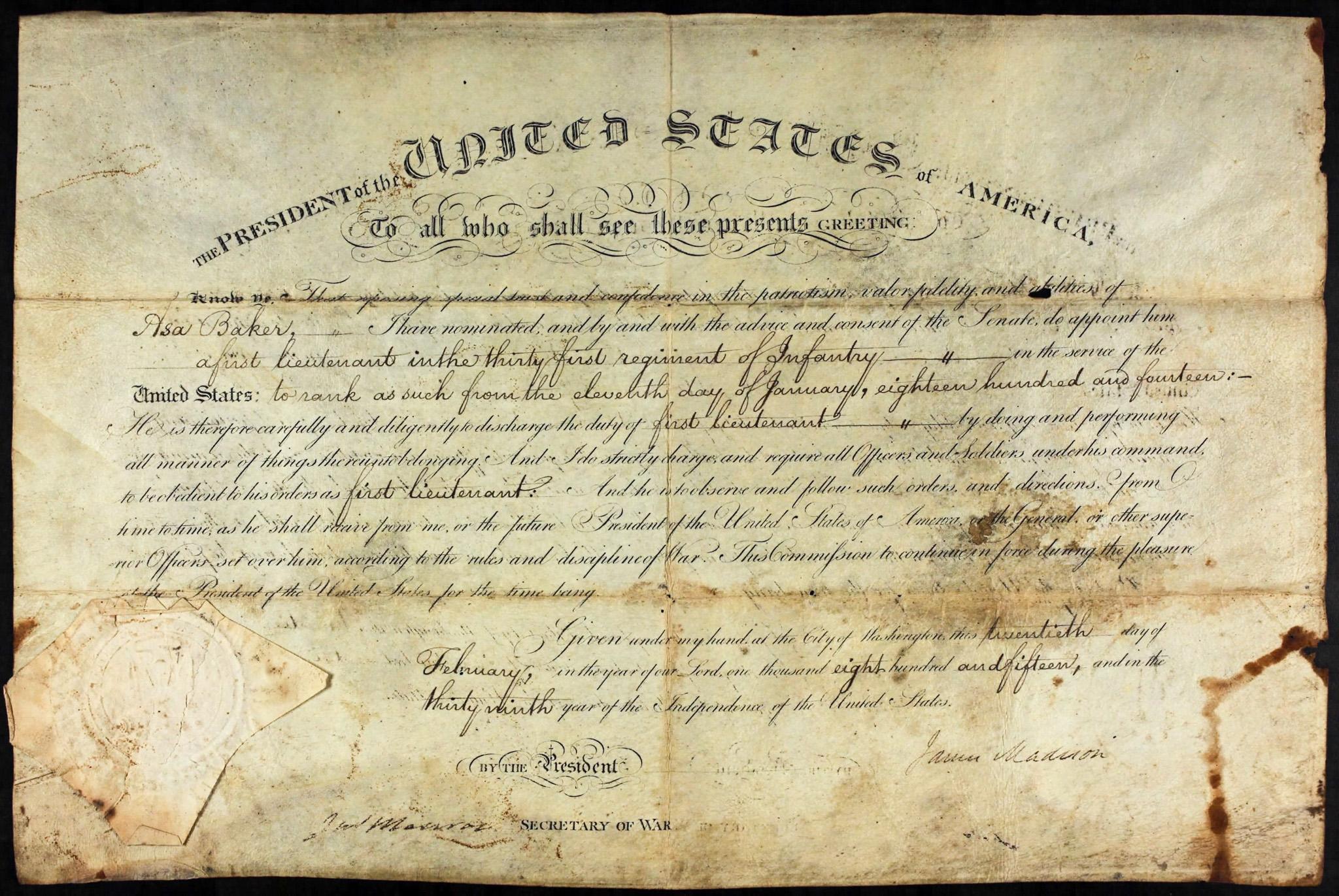 Asa Baker War of 1812 Service Certificate
