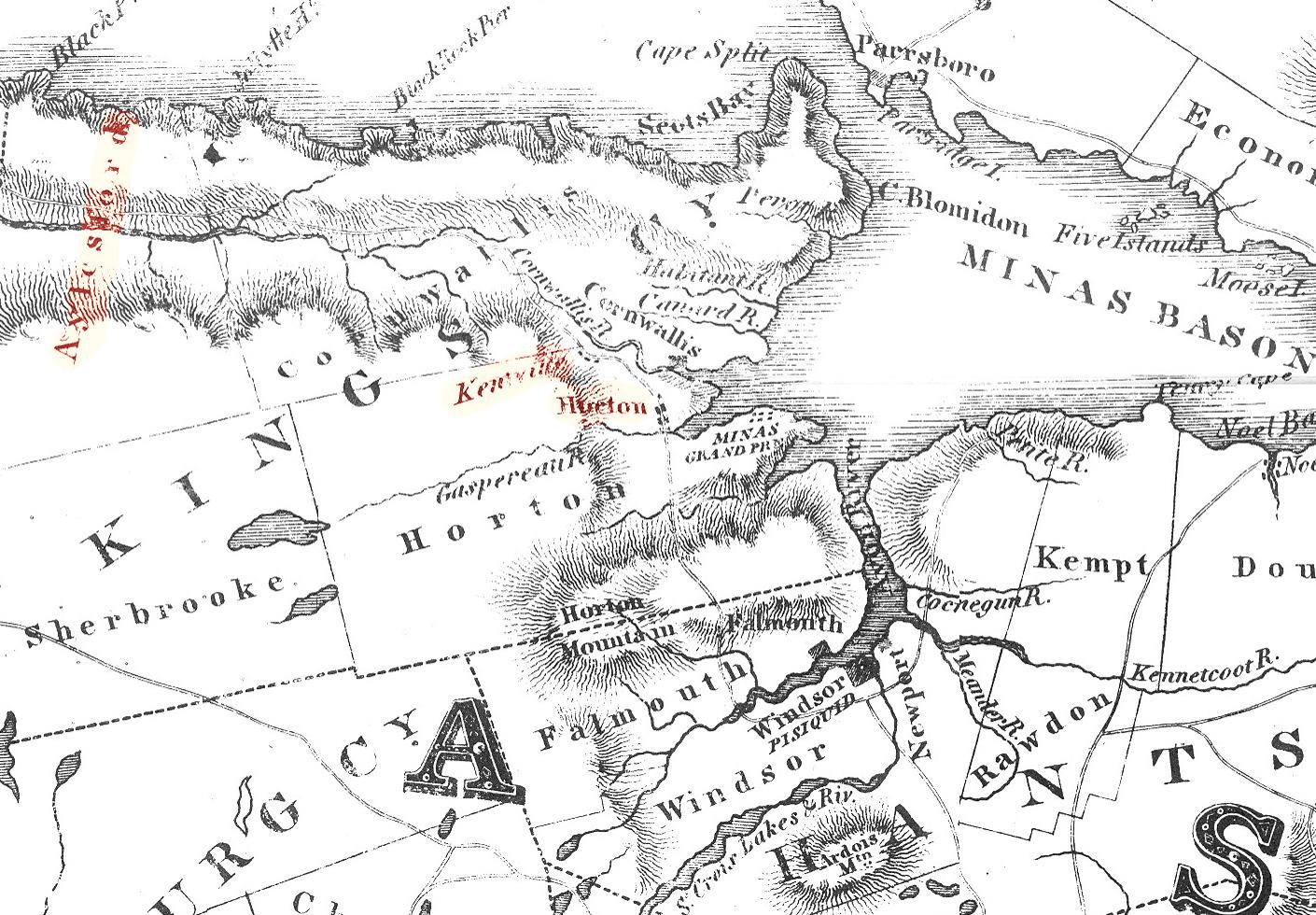 Kings County on 1829 Map of Nova Scotia
