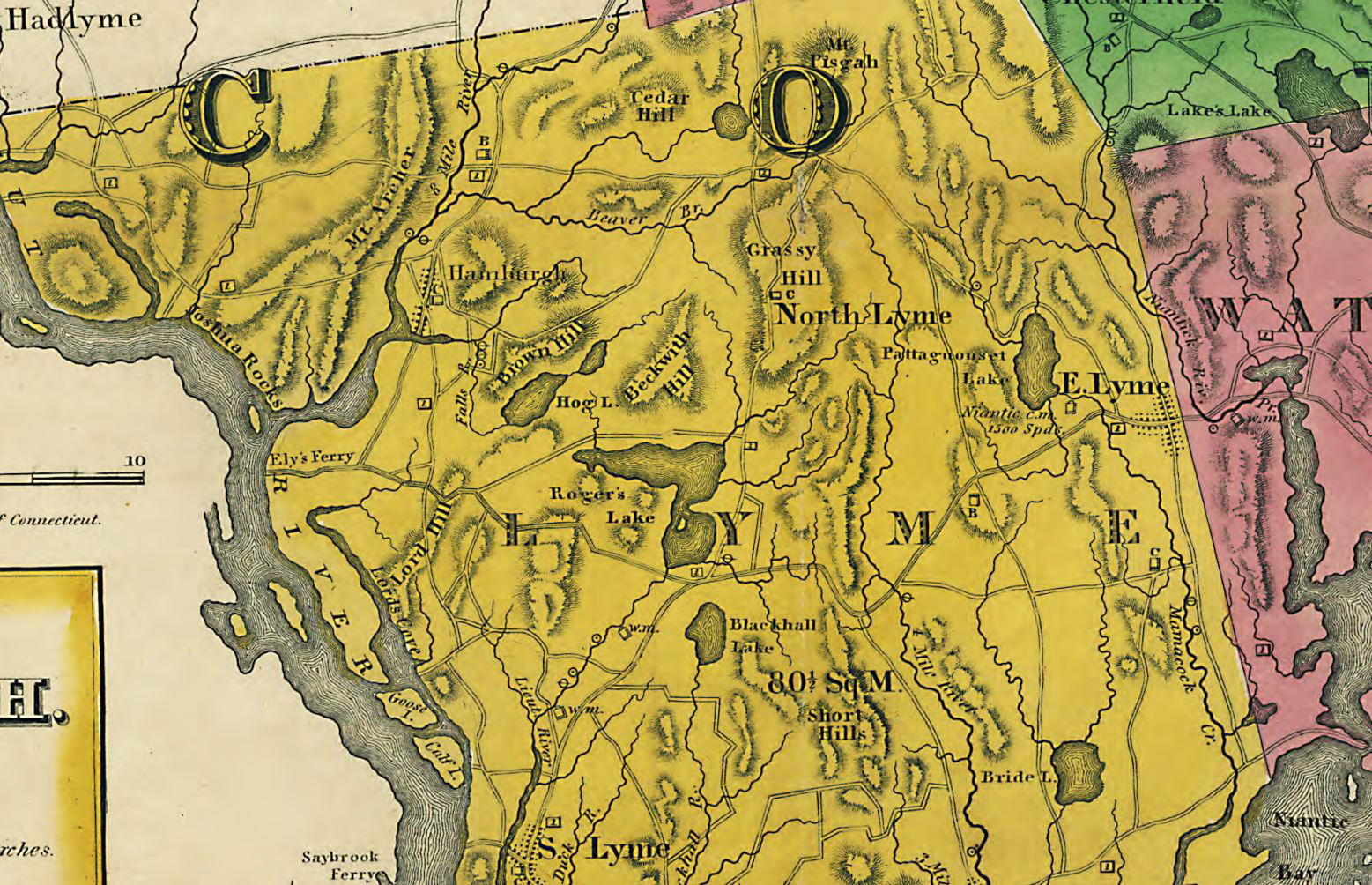 Close up of Lyme in 1833 New London County Map