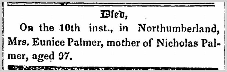 Eunice Palmer newspaper obituary notice