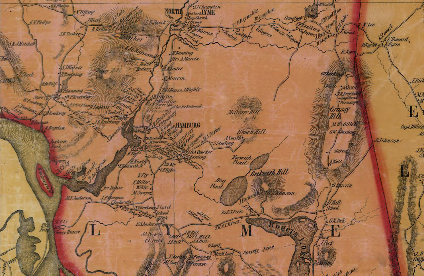 Close up of Lyme in 1854 New London County Map