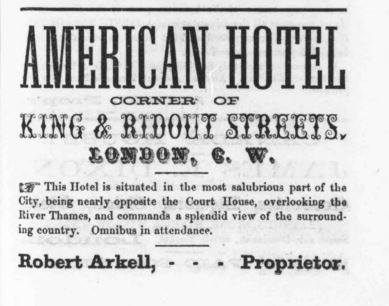 American Hotel Ad in 1856 London City Directory