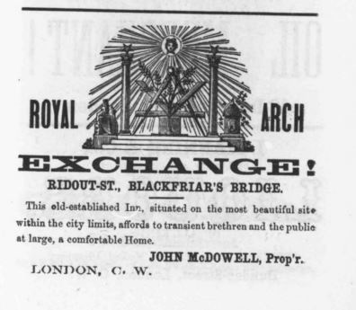Royal Arch Exchange Hotel in 1856 London City Directory