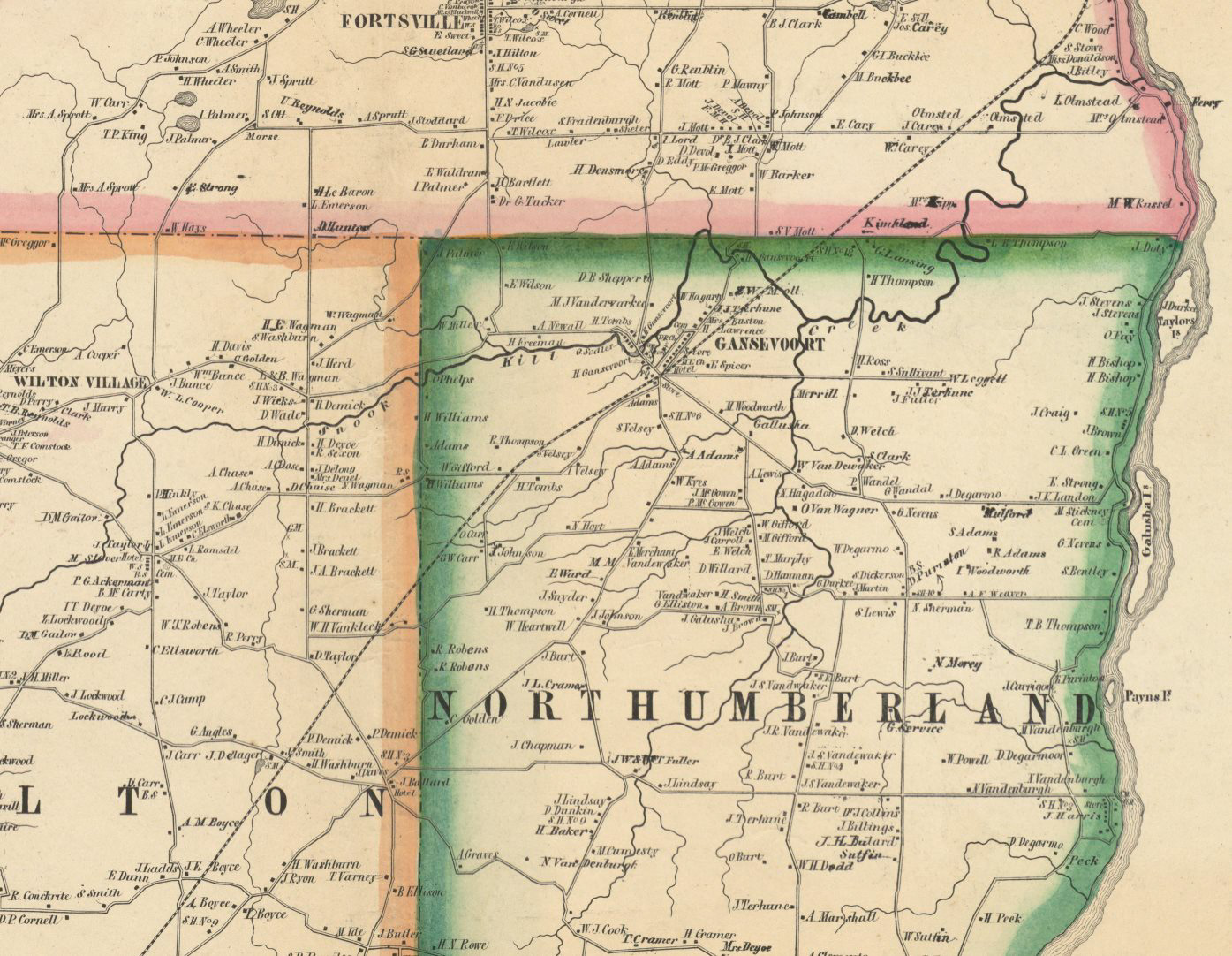 Map of Saratoga Co, NY by Samuel Geil, 1856