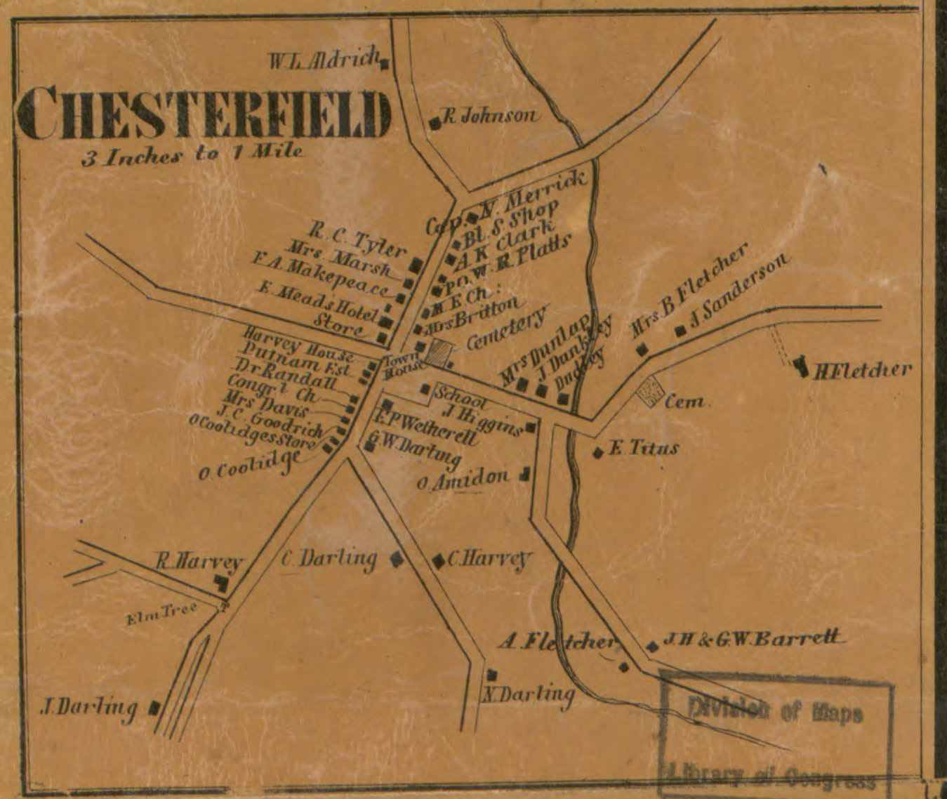Chesterfield NH map in 1858