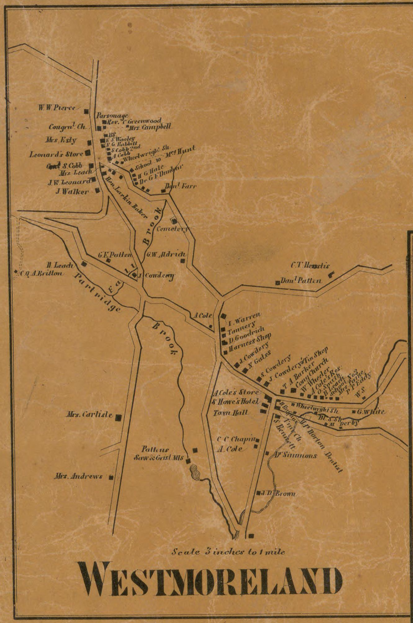 1858 Map showing Town of Westmoreland NH