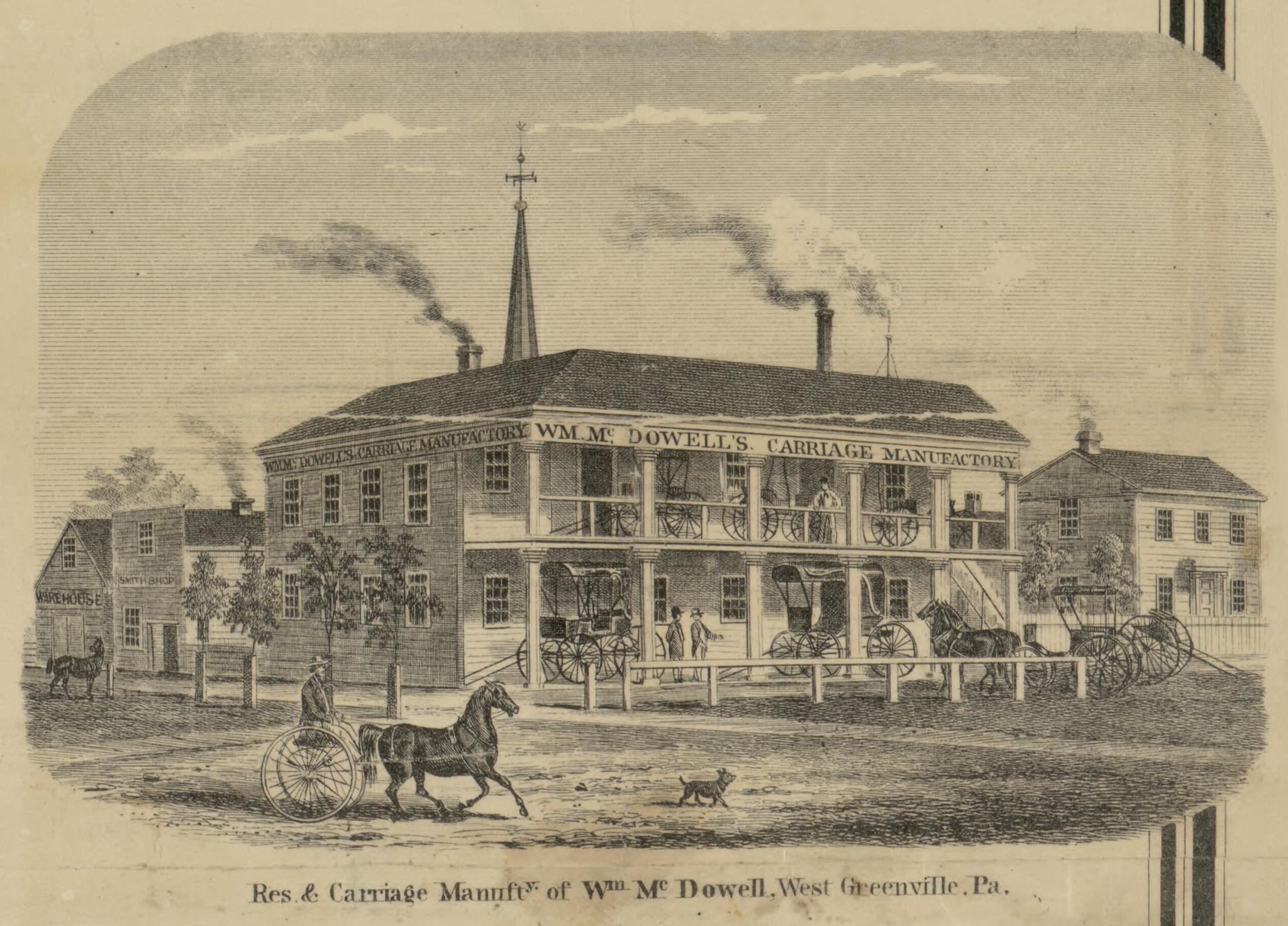 1860 Drawing of Wm McDowell Carriage Mfg & Residence