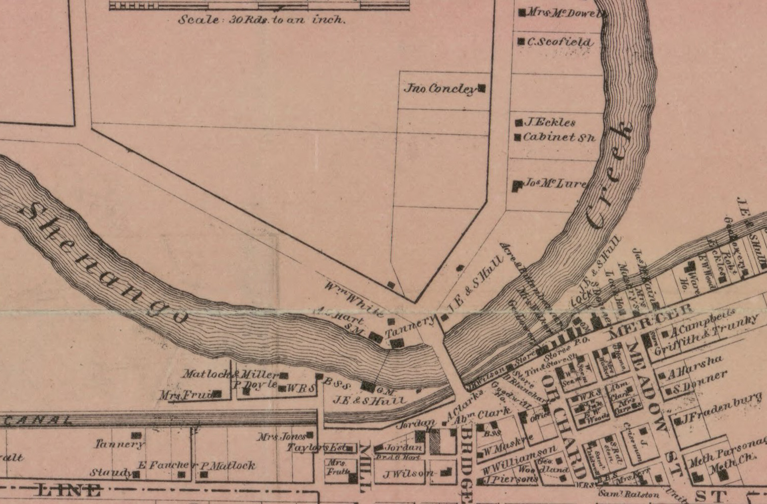 Close Up of Downtown Clarksville PA in 1860