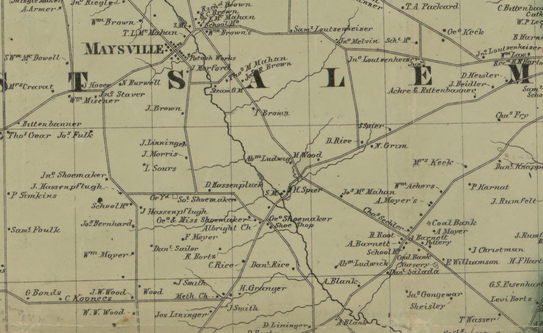 West Salem showing Woods family farm in 1860