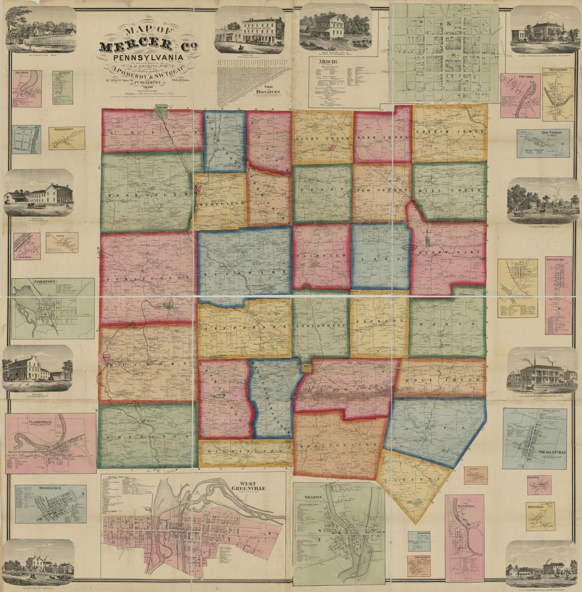 1860 Mercer County Map