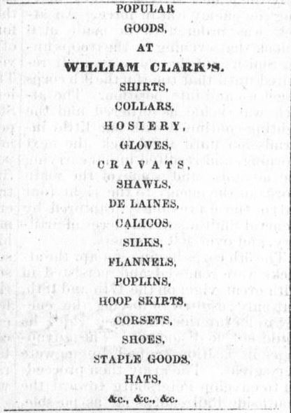 1865 William Clark Newspaper Ad