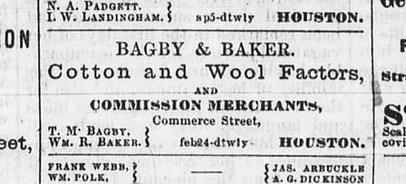 1866 Bagby & Baker Newspaper Ad