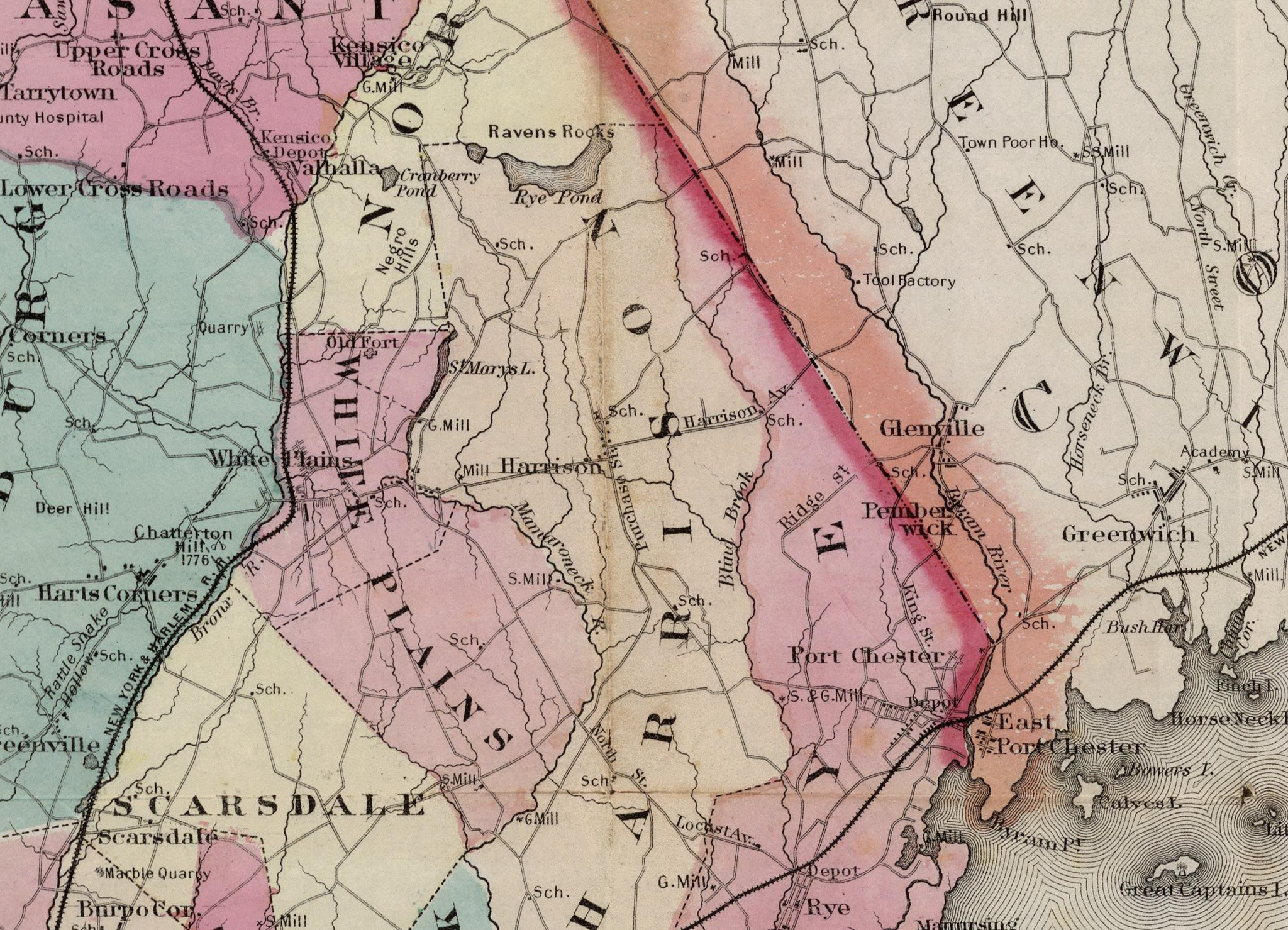 1867 Westchester County Map show