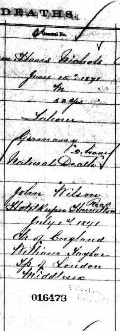 Hans Nichols Death Certificate