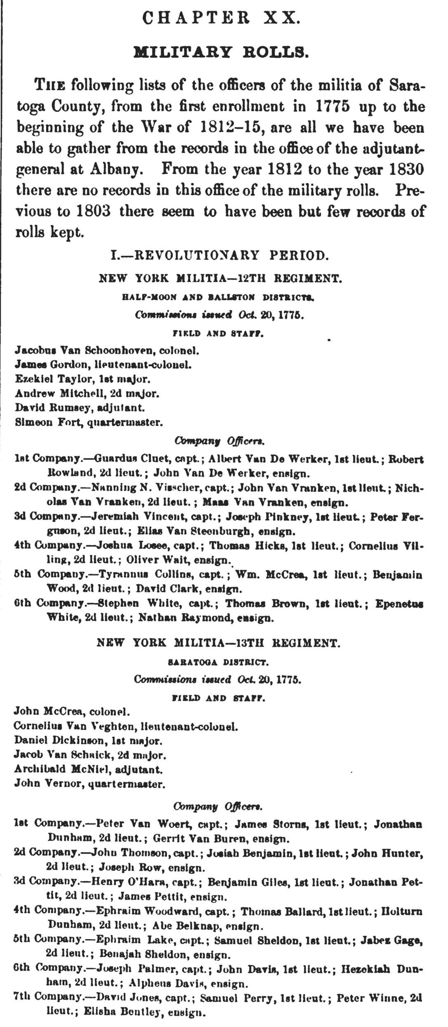 """Rev War Officers from """"History of Saratoga County"""" by N.B. Sylve"""