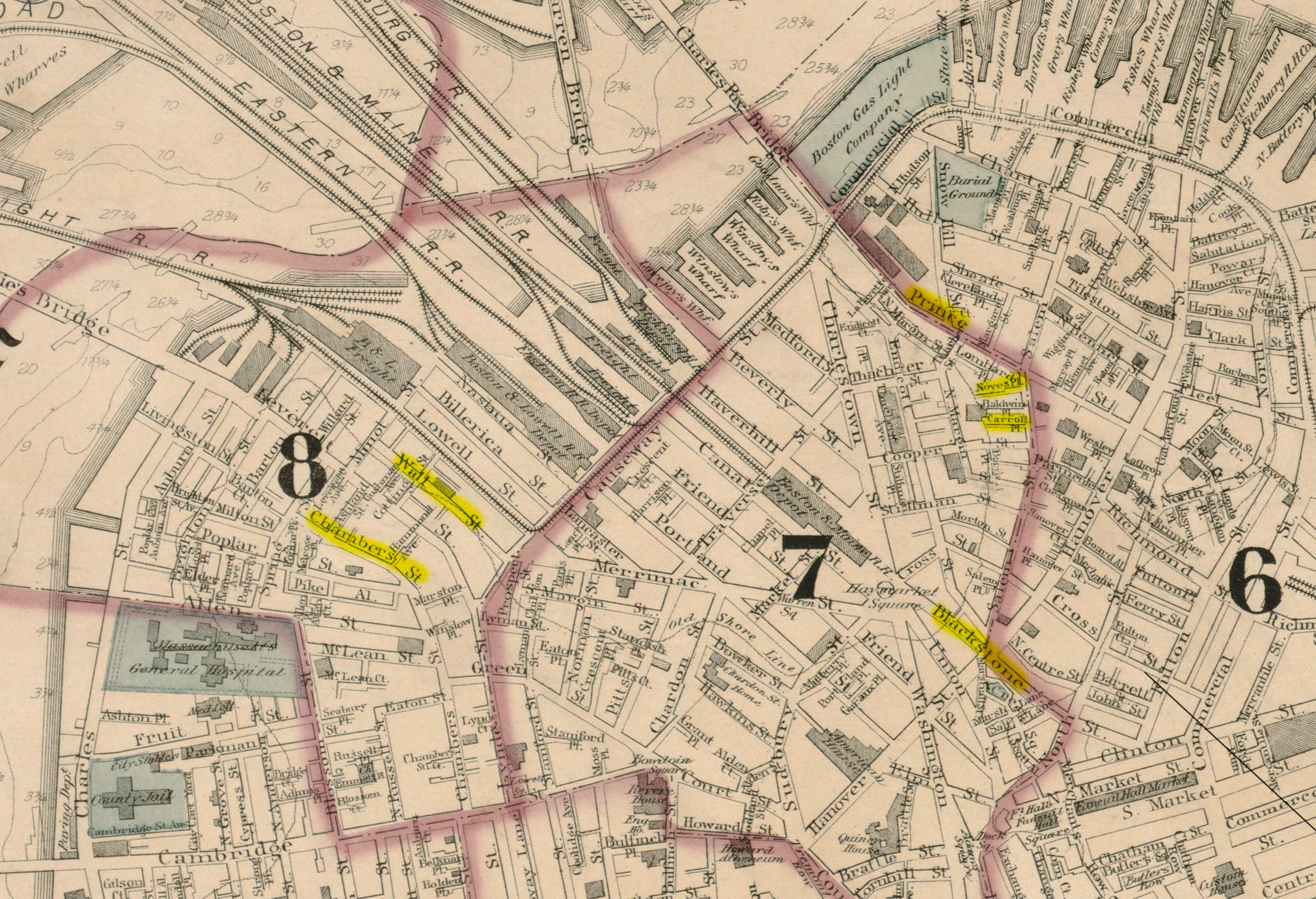 West End of Boston on 1880 Map