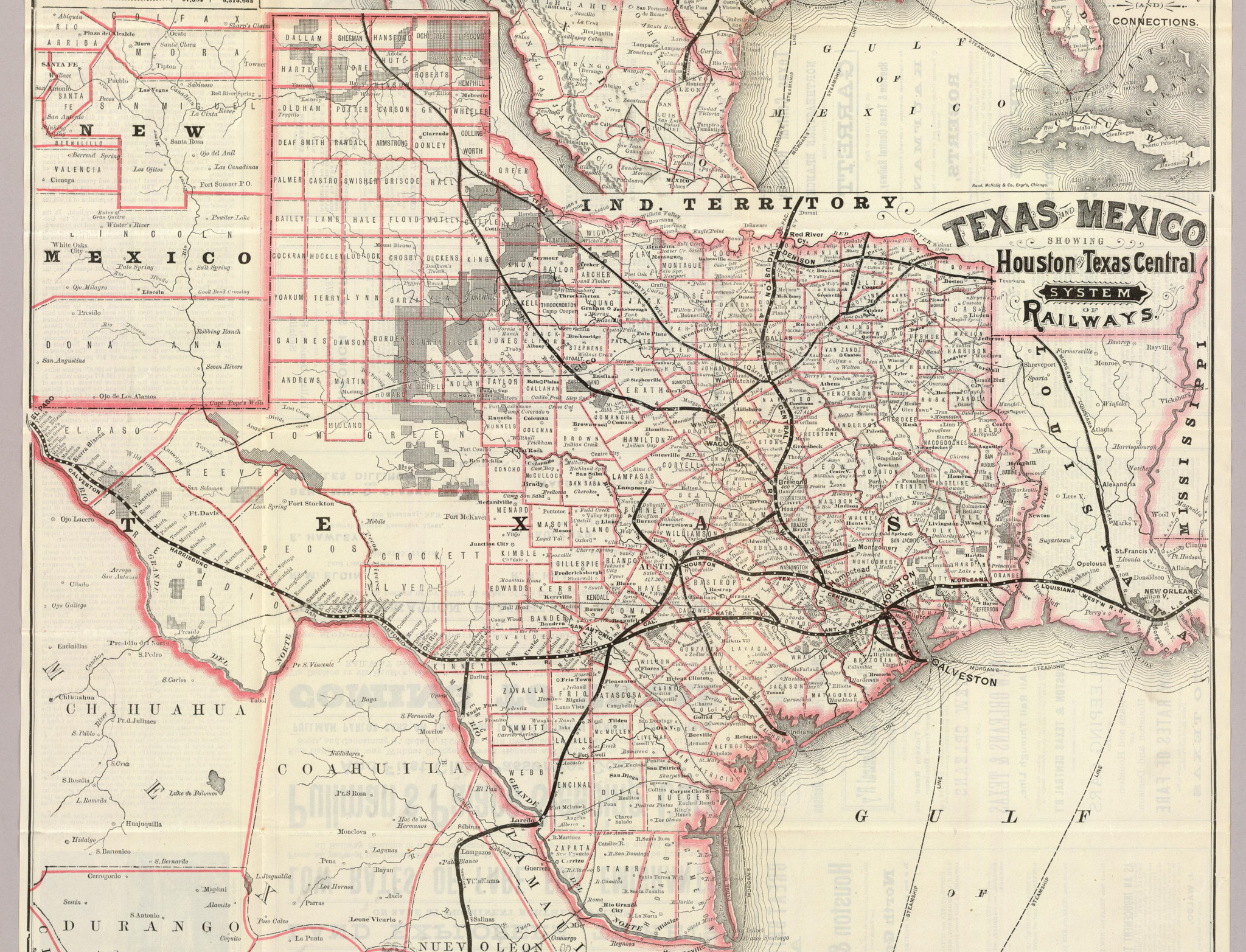 1885 Houston & Texas Central Railroad Map