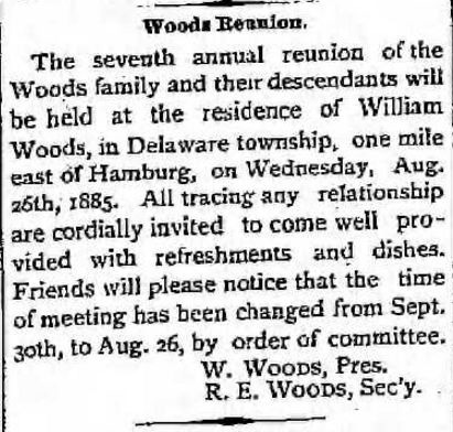 Woods Family Reunion Announcement in 1885