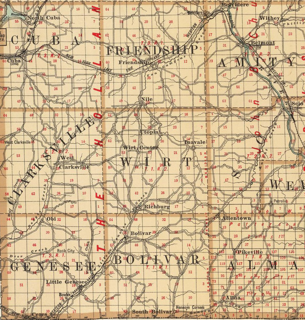 1895 Map of Wirt township in Allegany County