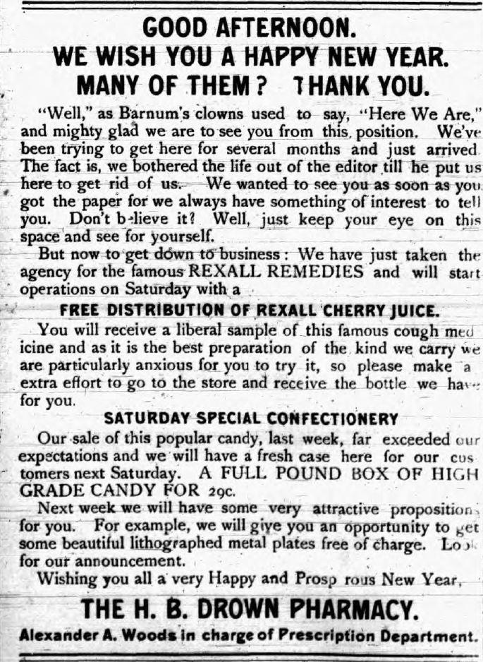 1908 HB Down Pharmacy Ad
