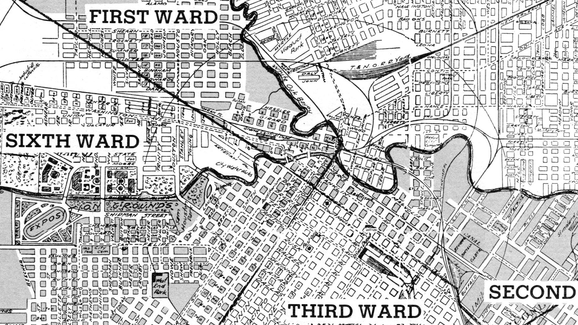 1920 Houston Map Showing 6th Ward
