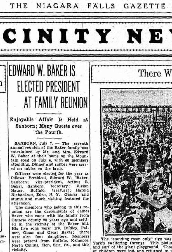 1931 Baker Family Reunion Announcement