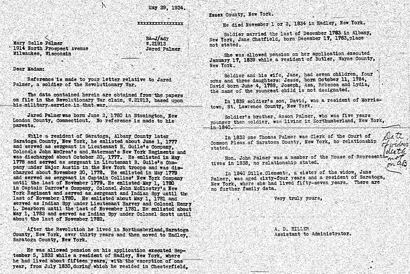 Jared Palmer Rev War Pension File Summary Letter