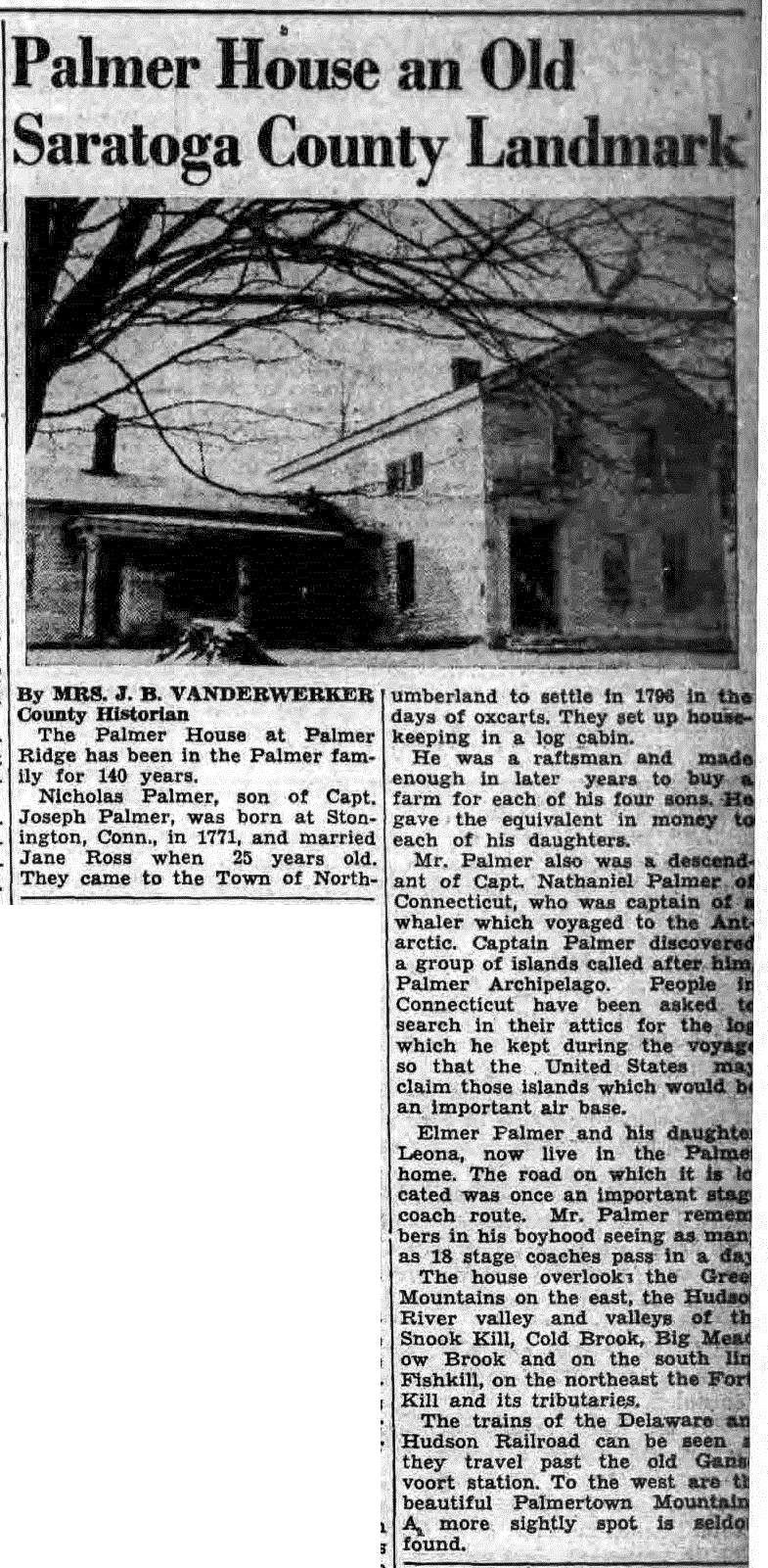 1939 Palmer Family Newspaper Article