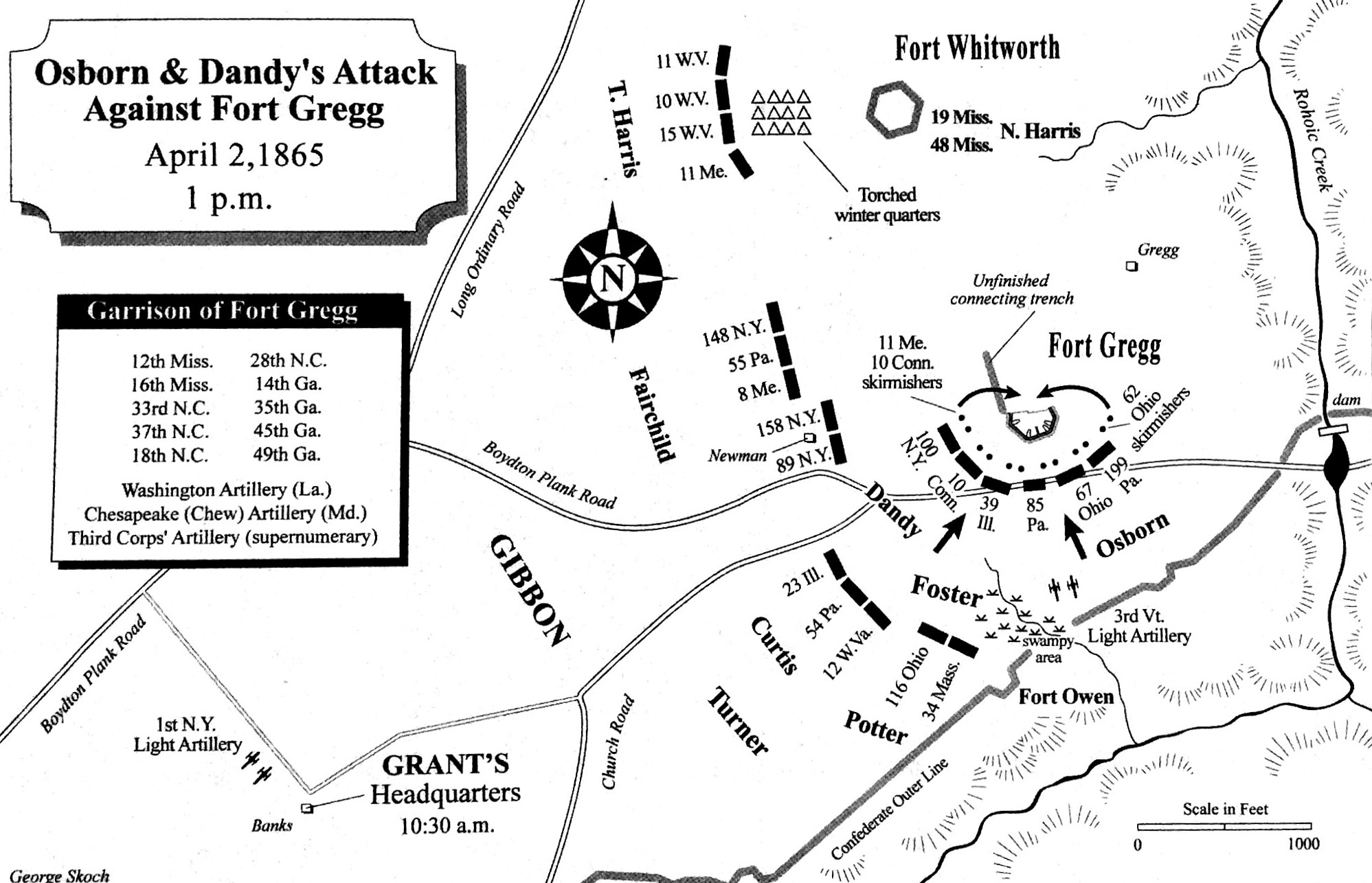 Battle Map of Fort Gregg Assault on 3 Apr 1865