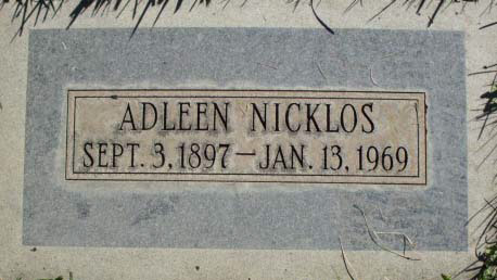 Adleen Nicklos Headstone