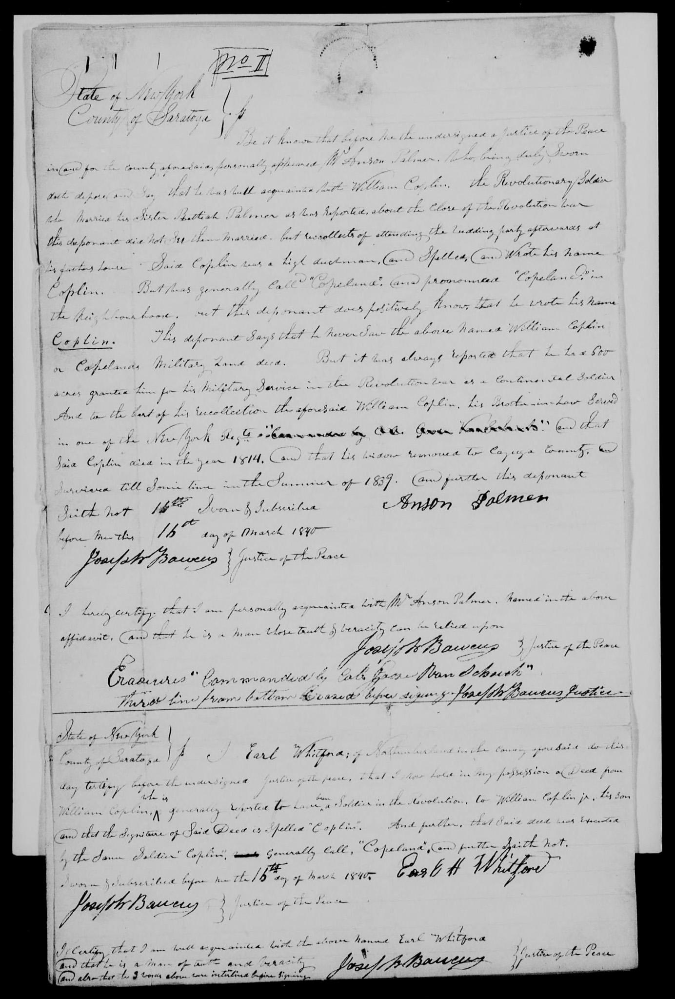 Anson Palmer affidavit on 16 Mar 1840