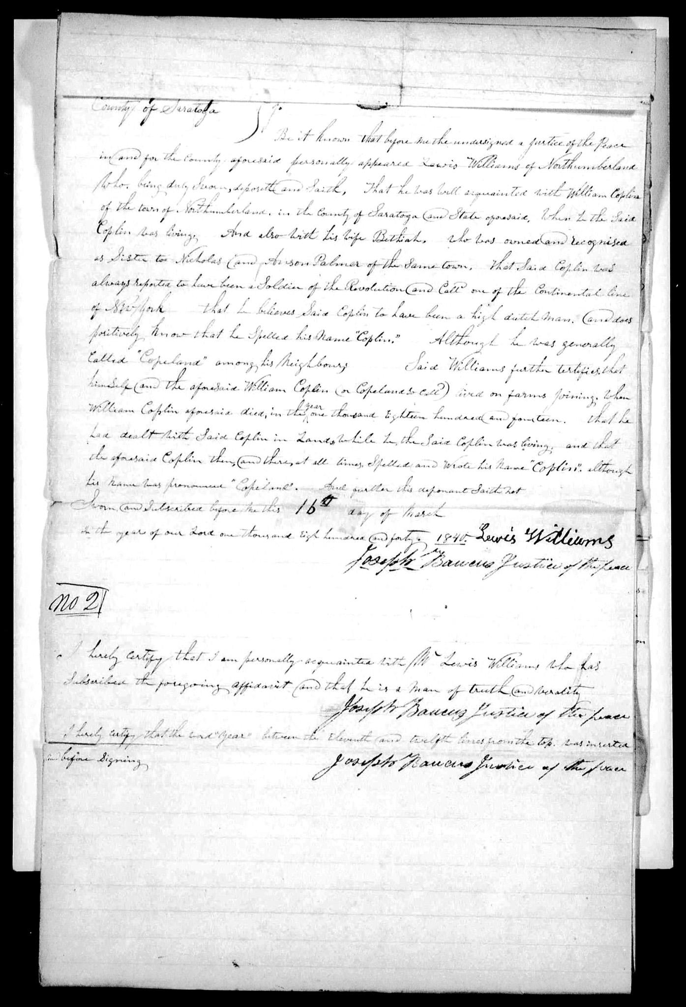 Lewis Williams affidavit on 16 Mar 1840