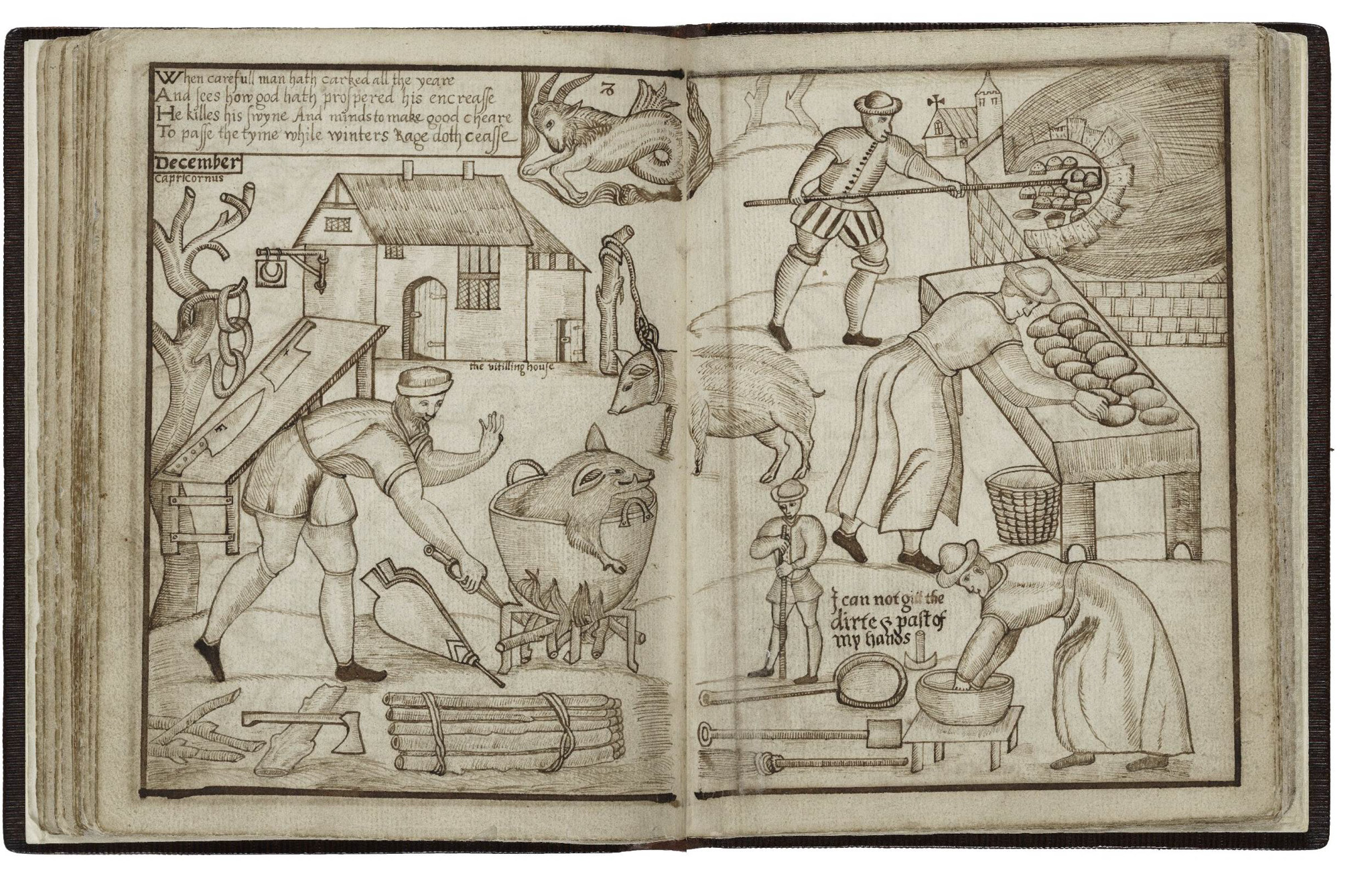 Yeomen in December - Slaughtering pigs and baking bread
