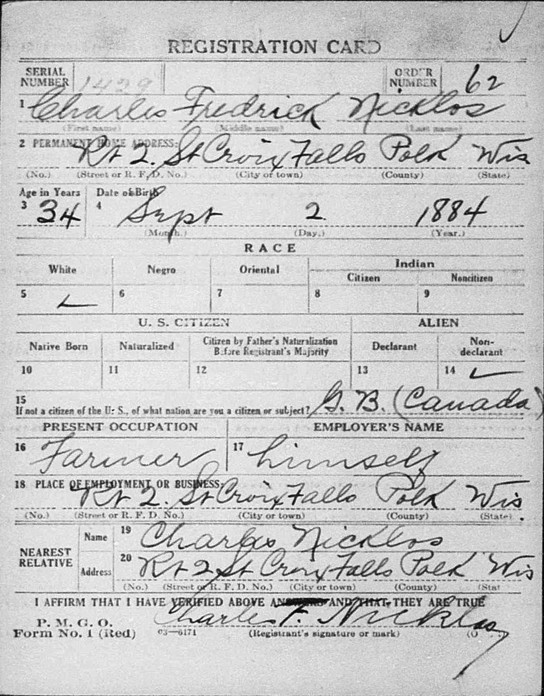 Charles Fredrick Nicklos WW1 Draft Card