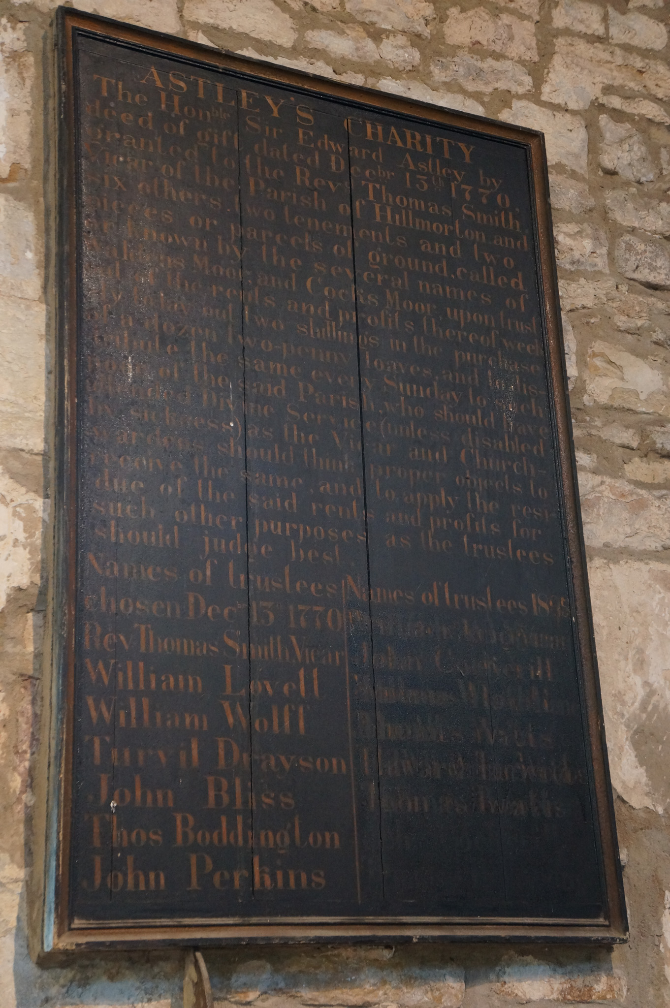 Astley Charity Plaque