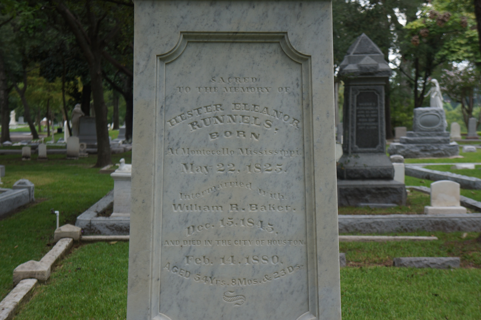 Inscription for Hester (Runnels) Baker on Family monument