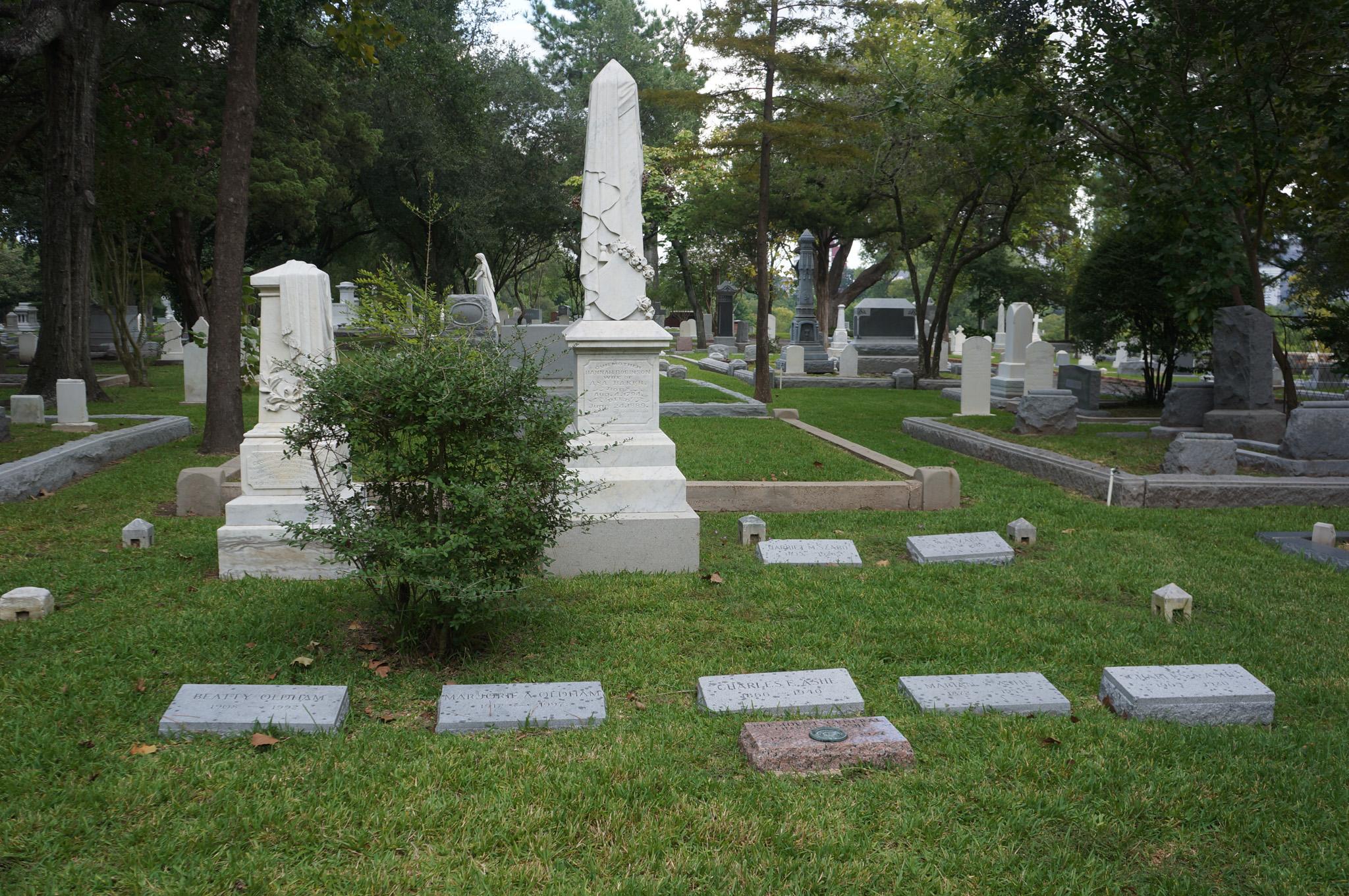 Baker Family Gravestones in Glenwood Cemetery