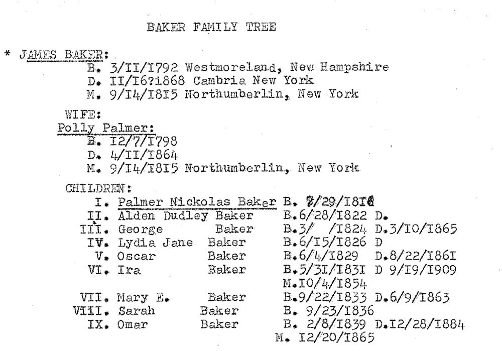 """Excerpt from """"Baker Family Tree"""" by Wilma Blanche Baker Richard"""